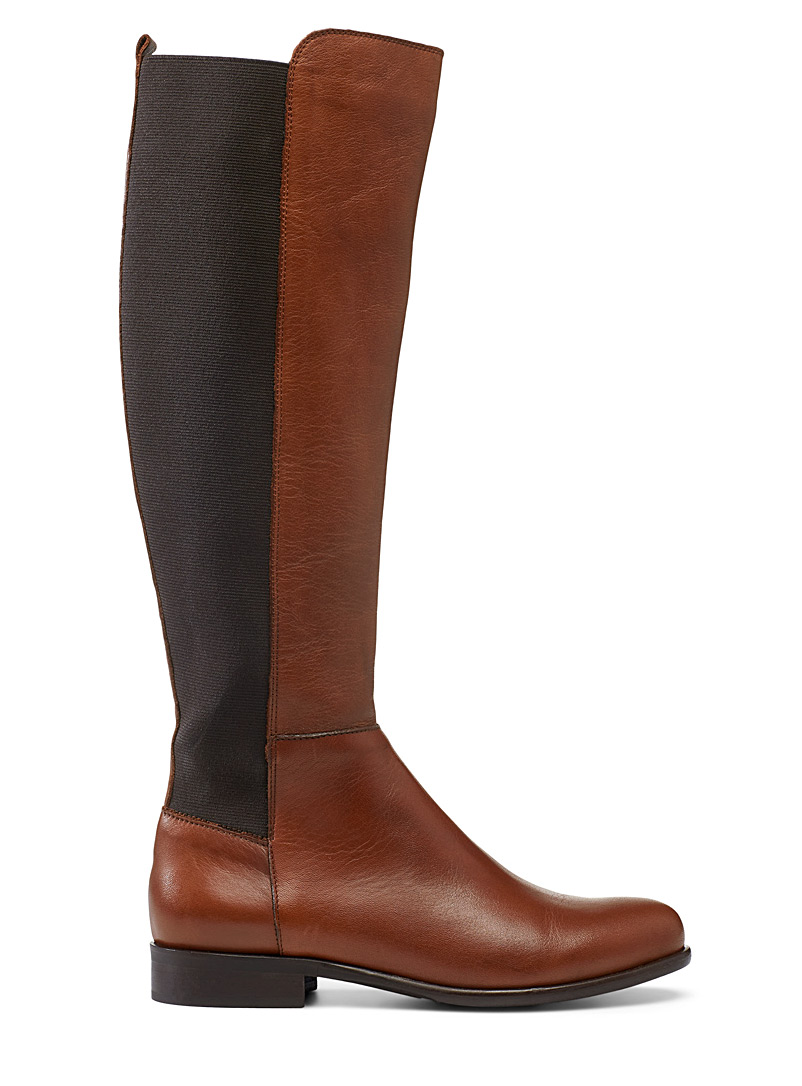 Simons Fawn Leather block knee-high boots for women