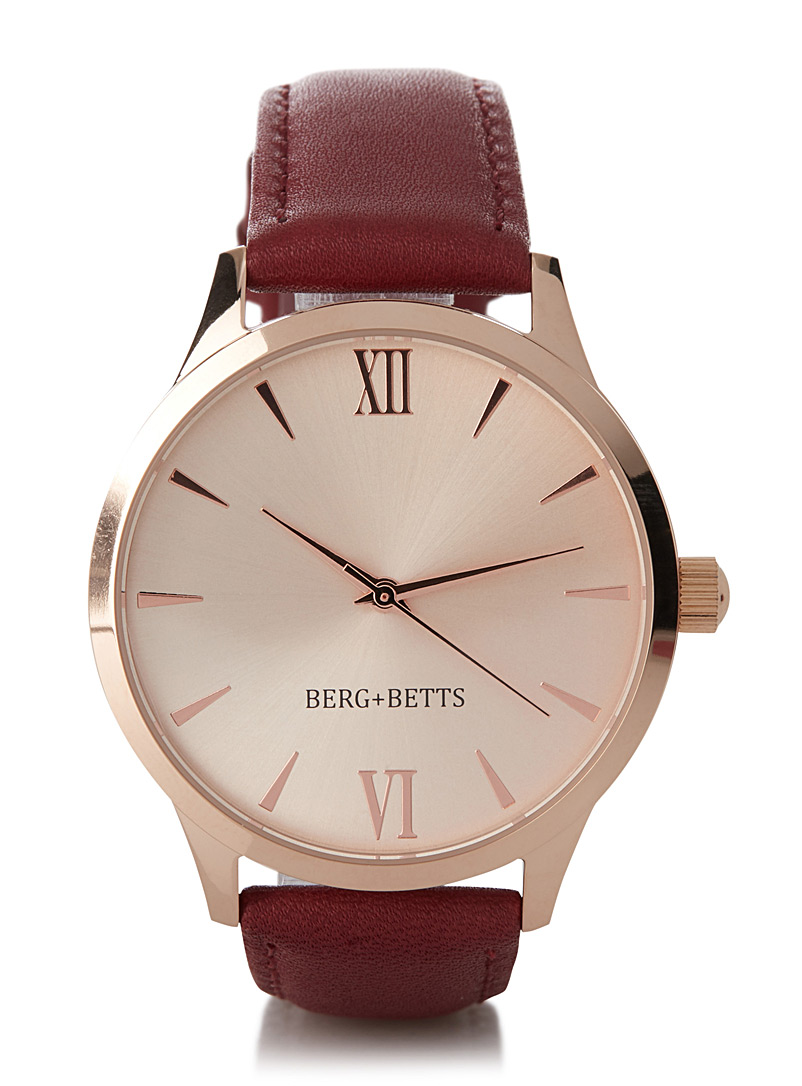 Coloured leather Mindful watch - Watches - Ruby Red