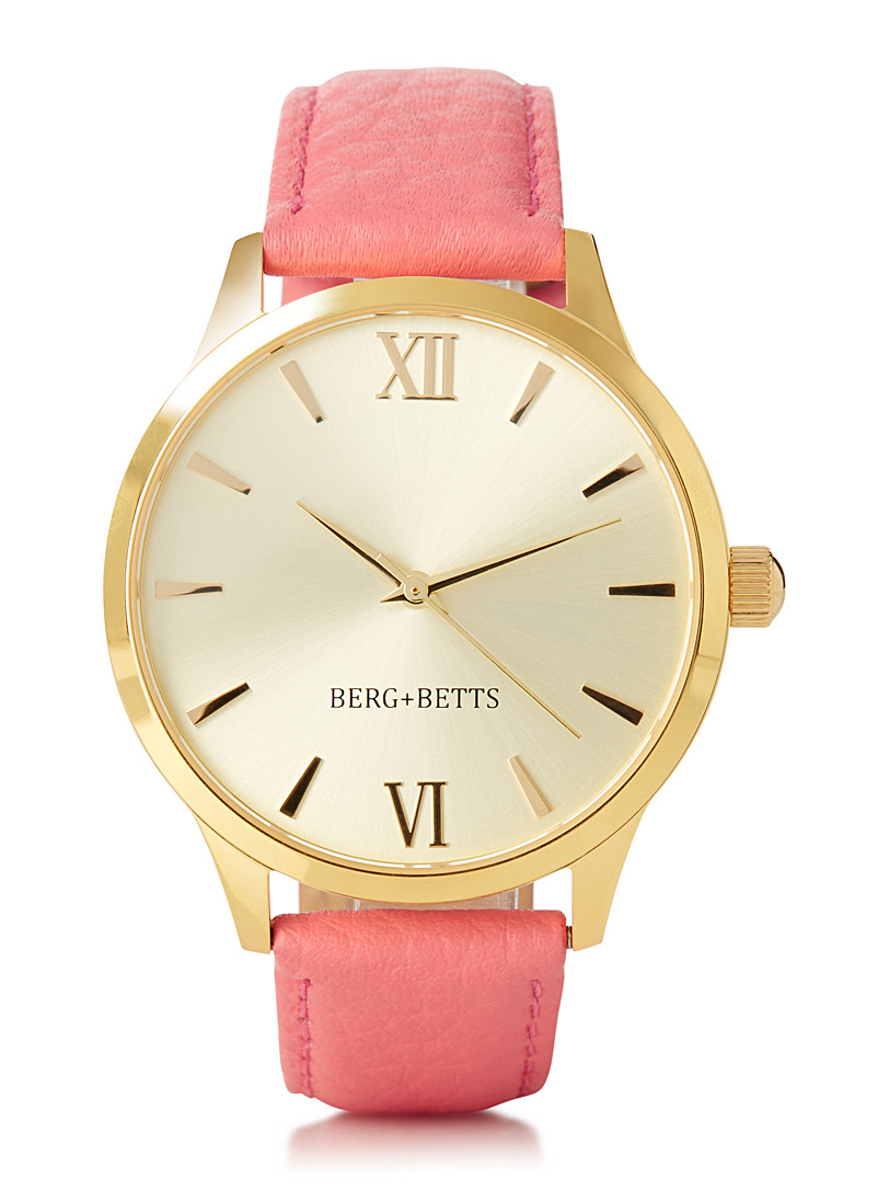Coloured leather Mindful watch - Watches - Pink