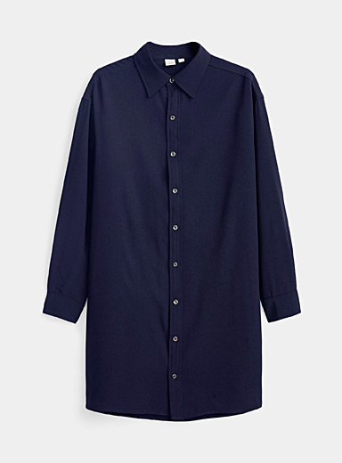 Twik Marine Blue Minimalist shirtdress for women