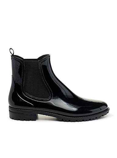 Simons Black Boston shiny booties for women