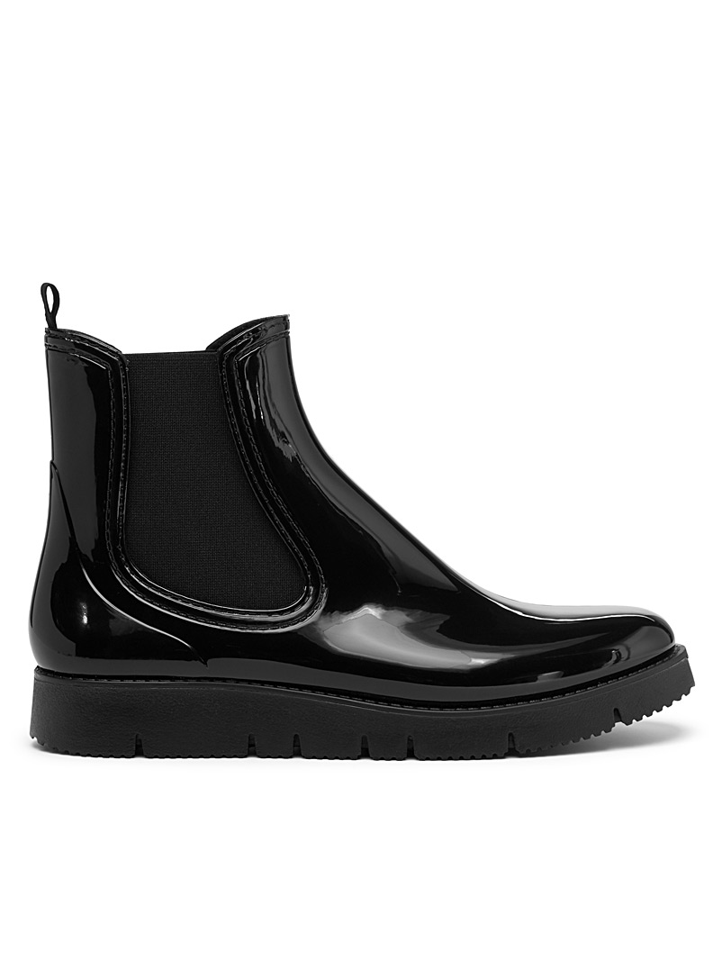 Simons Black Serrated sole Chelsea rain boots for women
