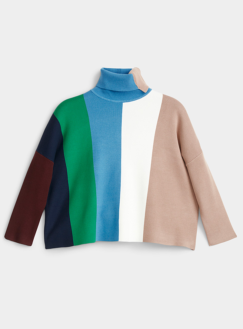 Le pull col roulé rayures blocs