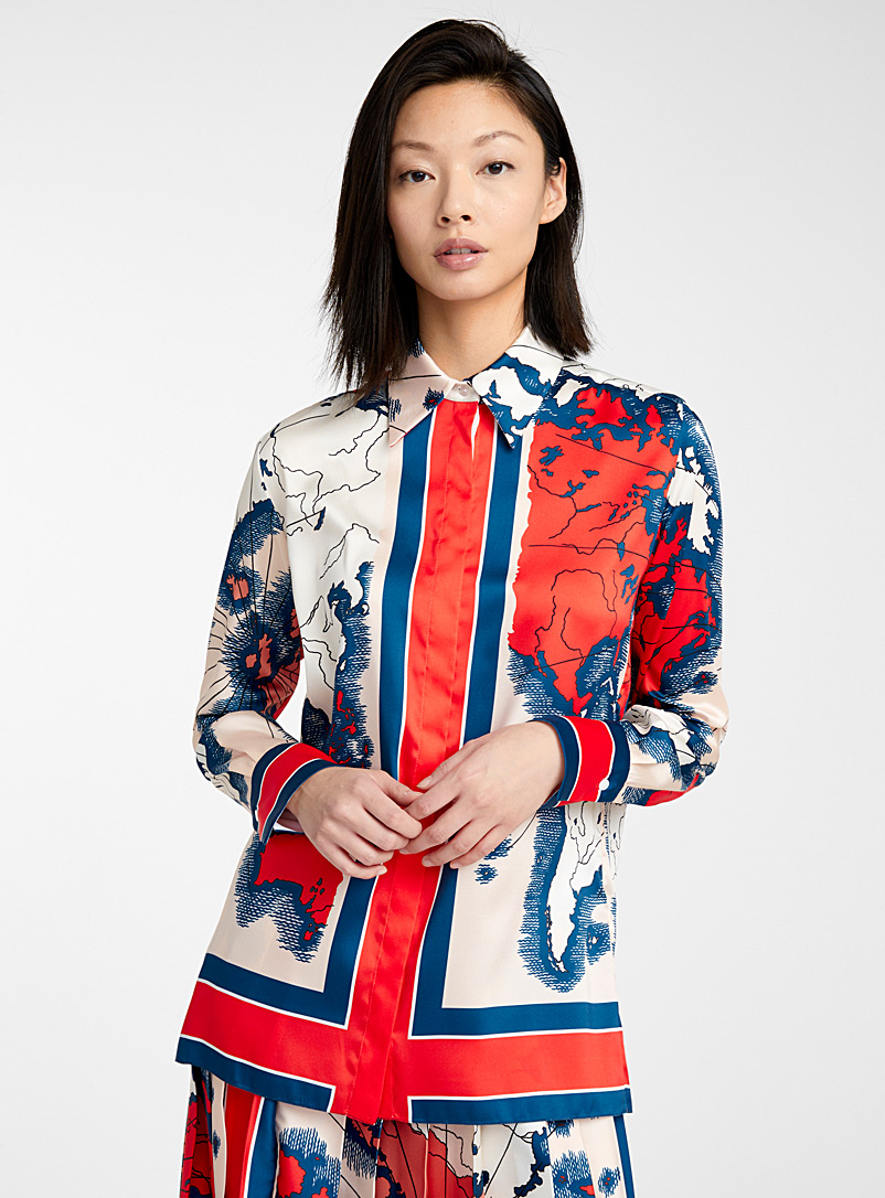 Victoria Victoria Beckham Red Map Print blouse for women