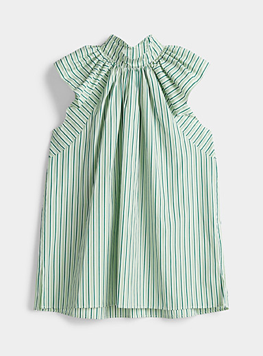 Victoria Victoria Beckham Lime Green Smocked striped top for women