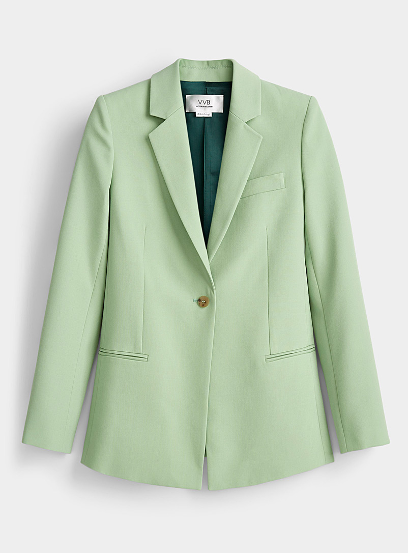 Victoria Victoria Beckham Lime Green Pistachio green fitted blazer for women