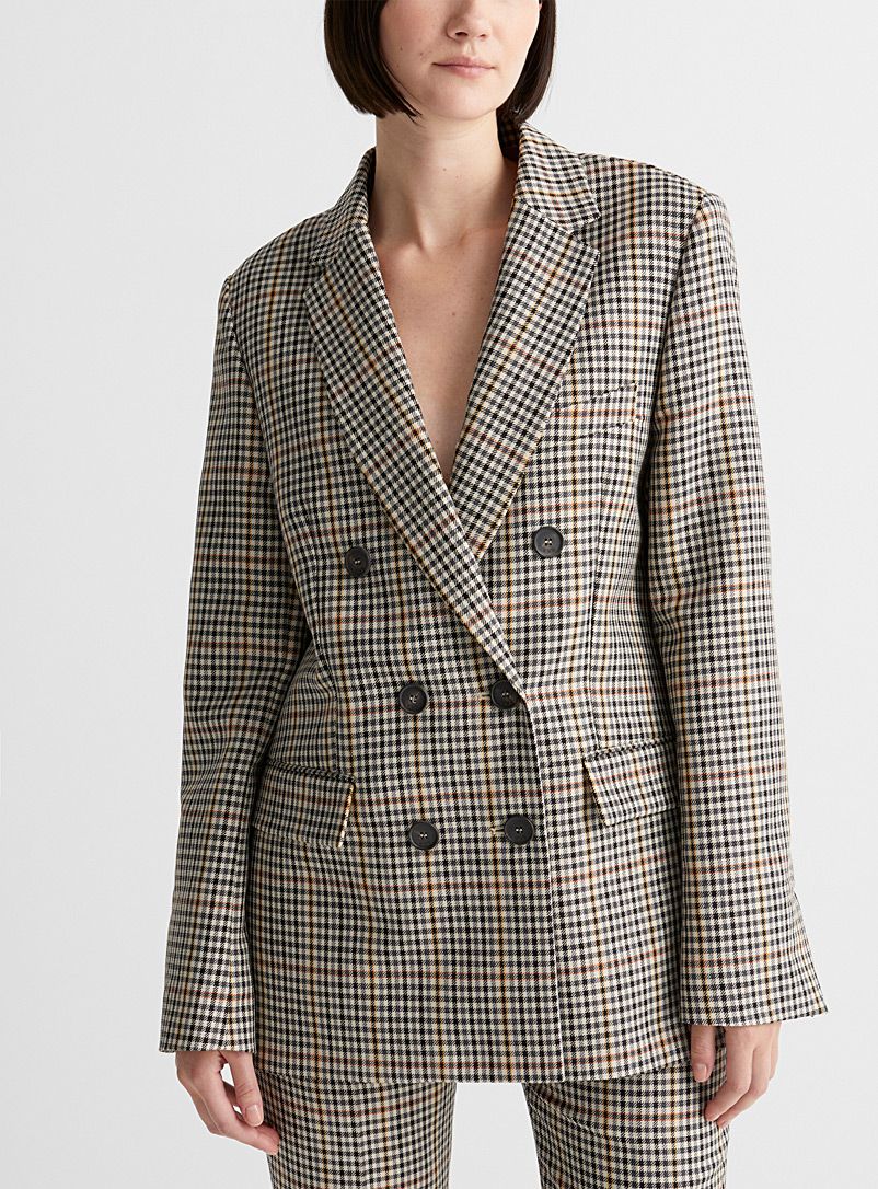 Accent check jacket