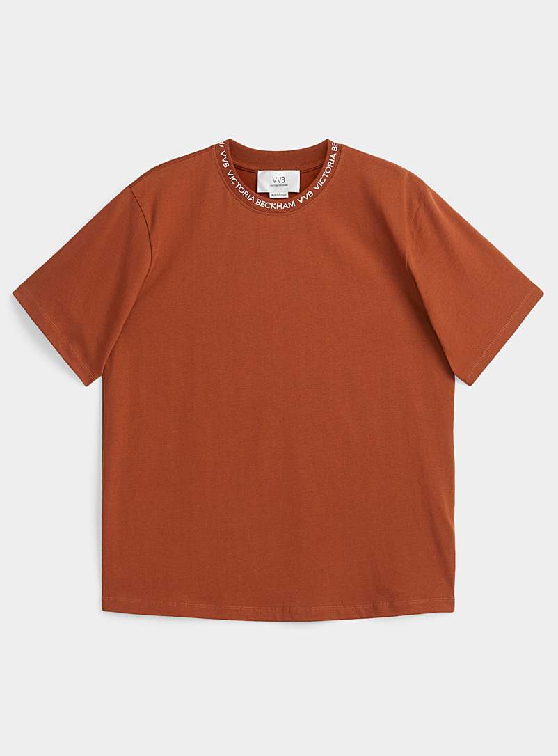 Victoria Victoria Beckham Brown Signature ribbed-collar tee for women