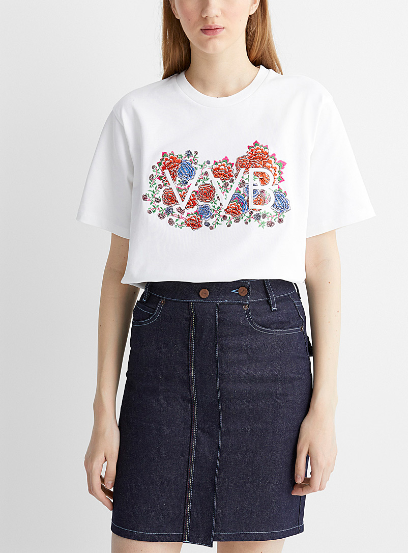 Victoria Victoria Beckham White Floral embroidery logo tee for women