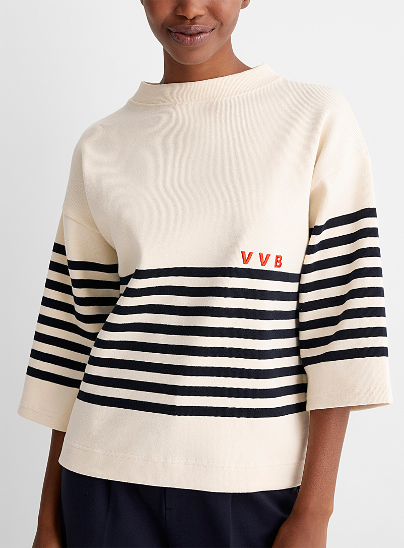 Victoria Victoria Beckham Patterned Ecru Seaside stripe ribbed sweater for women