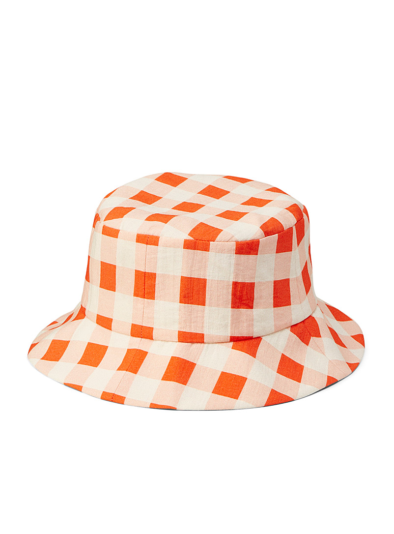 Victoria Victoria Beckham Patterned Orange Orange-zest gingham bucket hat for women