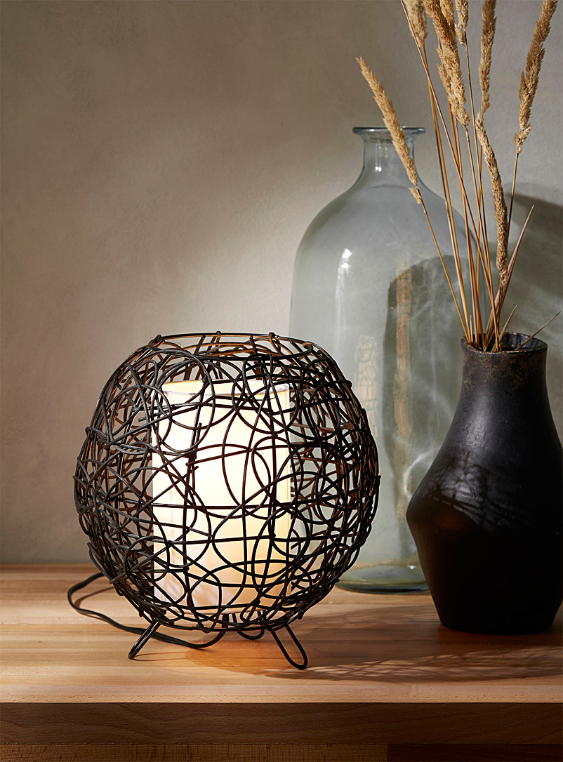 Rattan bubble table lamp - Lighting - Black