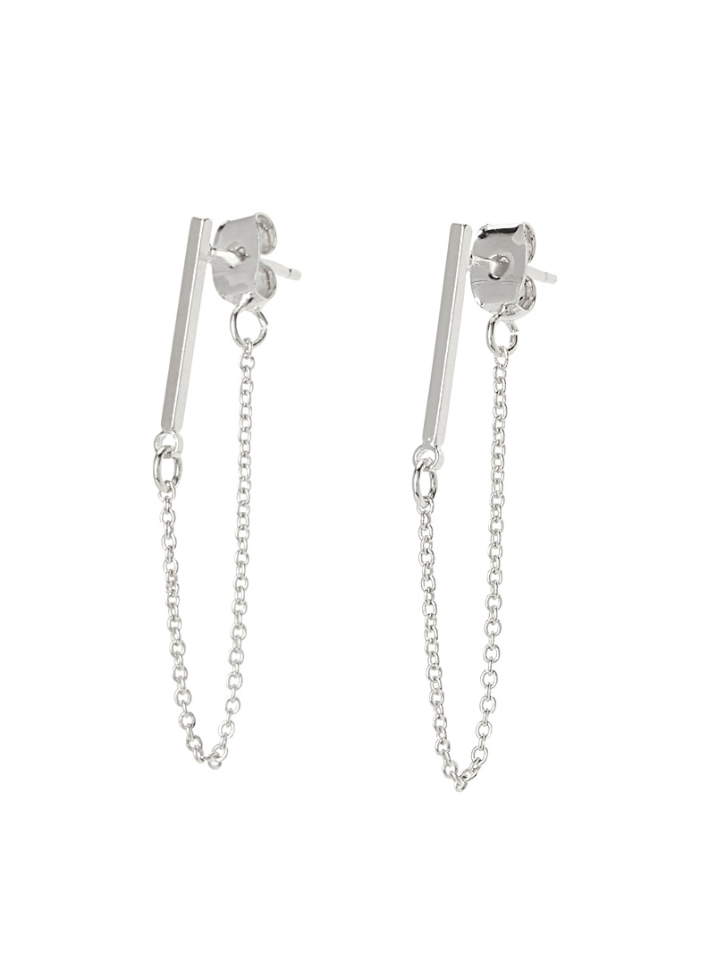 Simons Silver Rods and chains earrings for women
