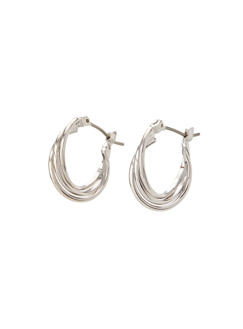 Intertwined hoops - Earrings - Silver