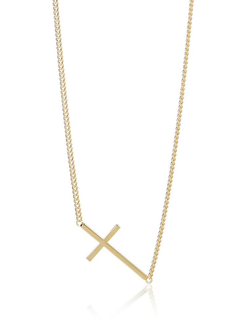 Horizontal cross chain necklace - Necklaces - Golden Yellow
