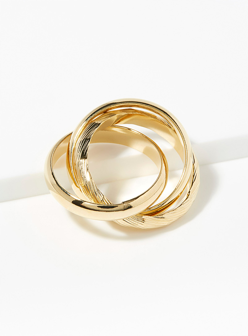 Geo spiral rings  Set of 3 - Rings - Golden Yellow