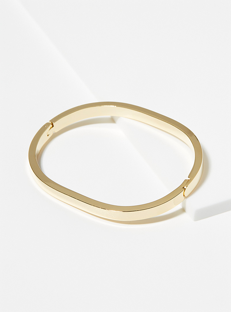 Simons Gold Minimalist oval cuff bracelet for women