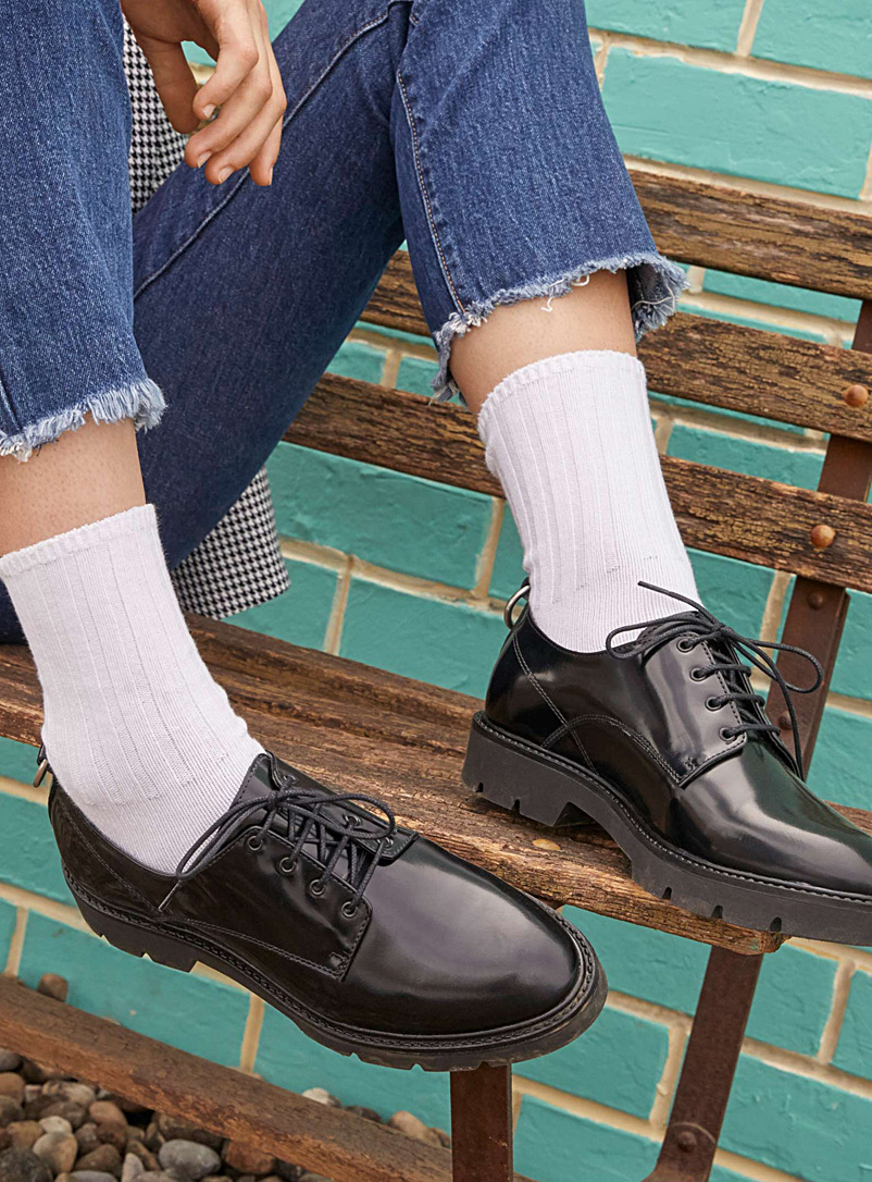 Simons Black Menswear-inspired derby shoes for women