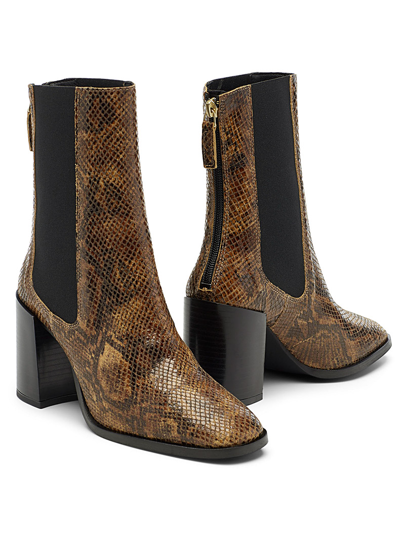 Simons Patterned Brown Mid-calf Chelsea boots for women