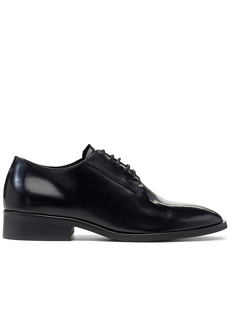 Simons Black Glossy leather derby shoes for women