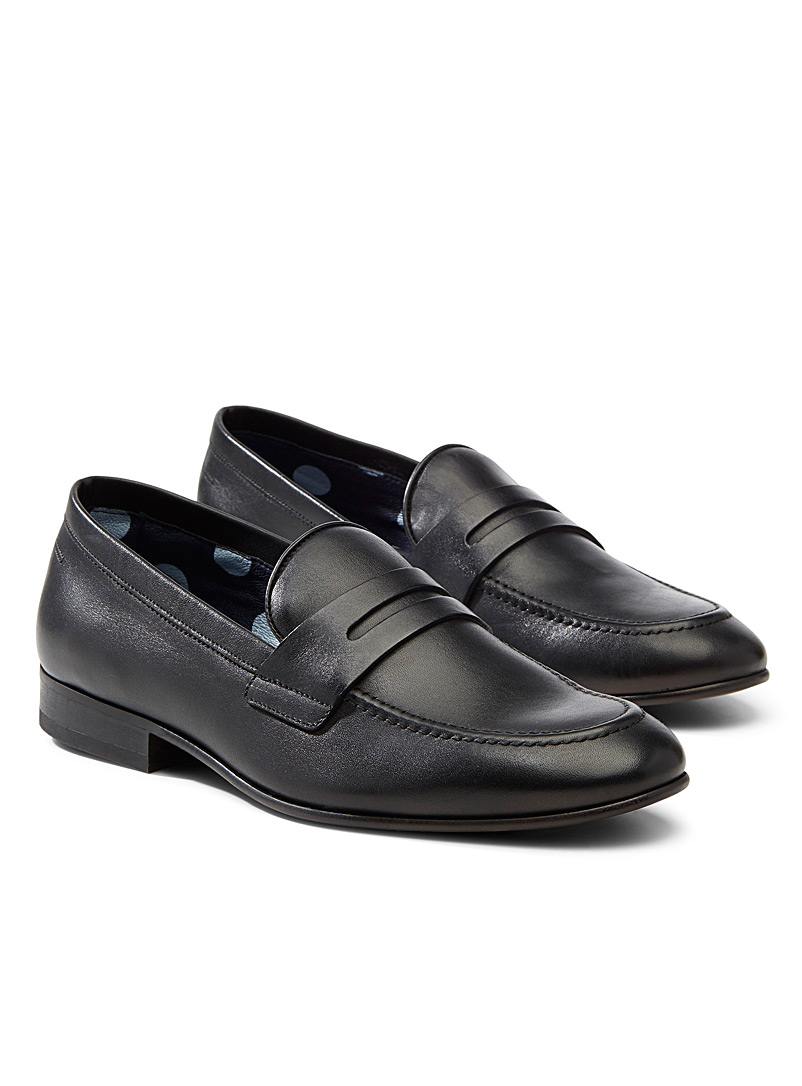 Simons Black Minimalist leather loafers  Men for men