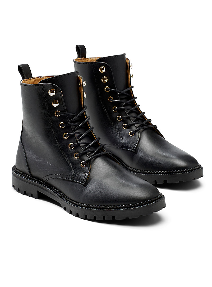 Simons Black Golden-eyelet laced boots for women