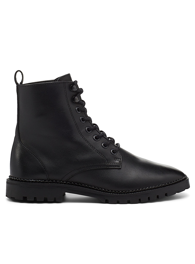 Simons Black Black leather lace-up boot Women for women
