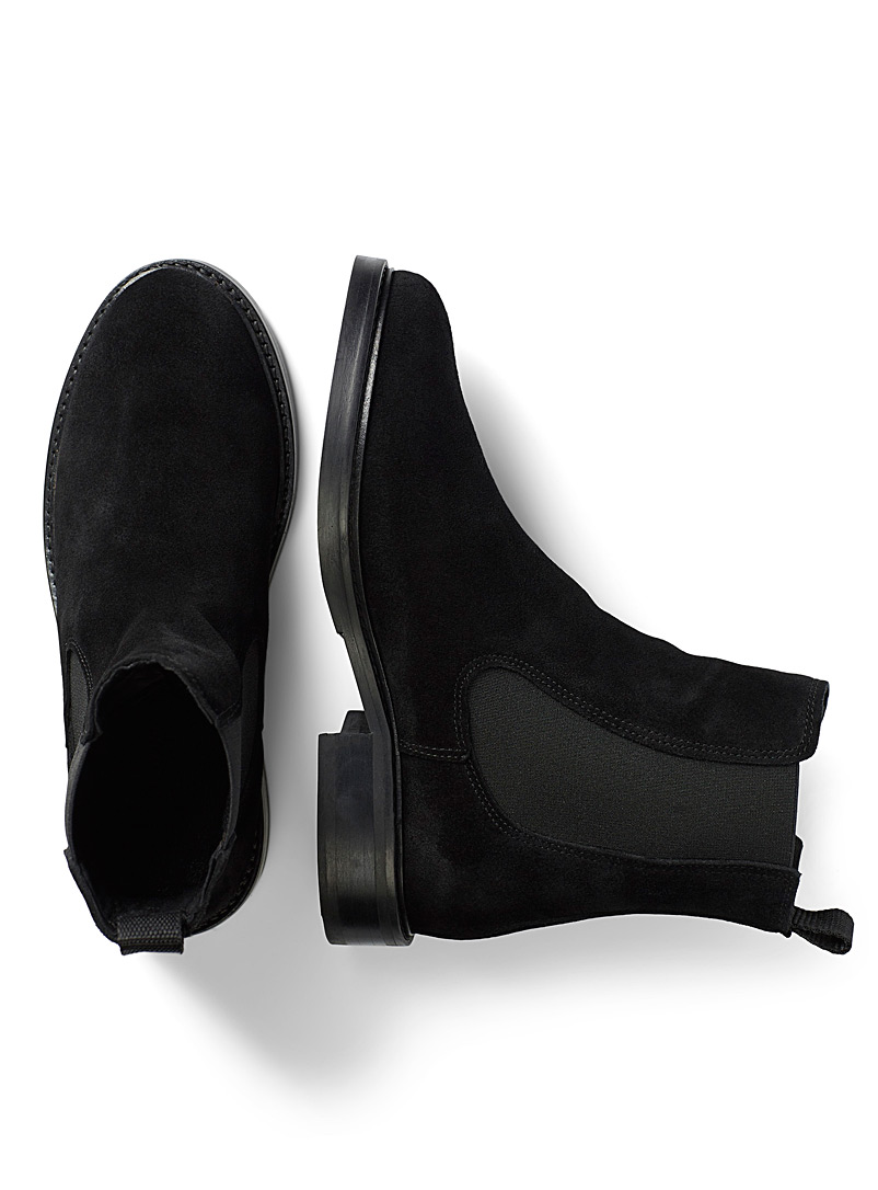 Simons Black Flat-heel leather Chelsea boots for women