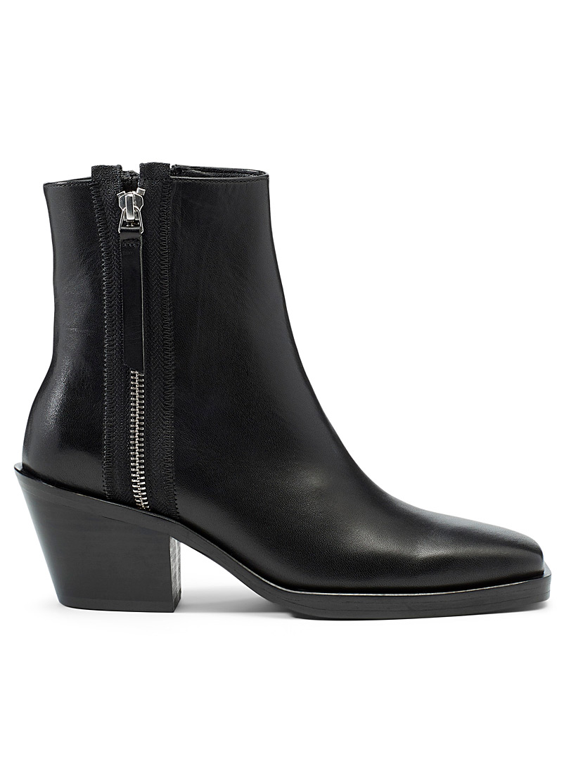 Simons Black Silver zip Chelsea boots for women