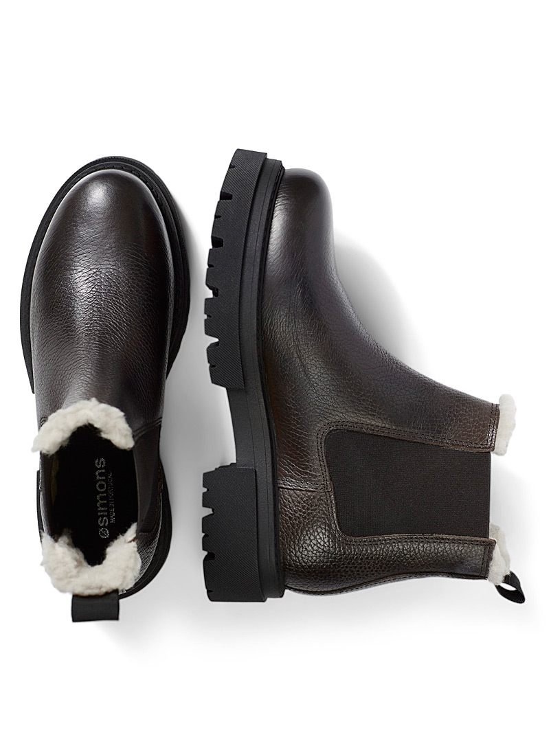 Simons Black Notched-sole winter Chelsea boots for women