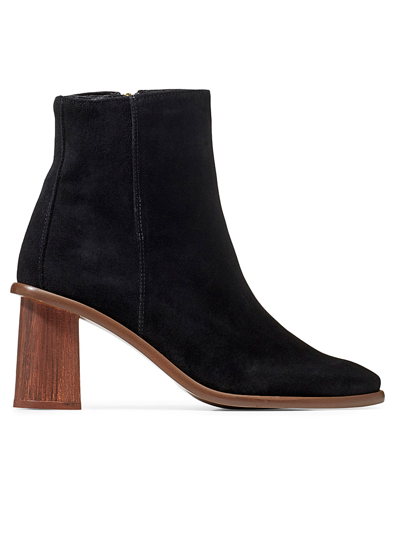 Simons Black Wooden-heel suede ankle boots for women