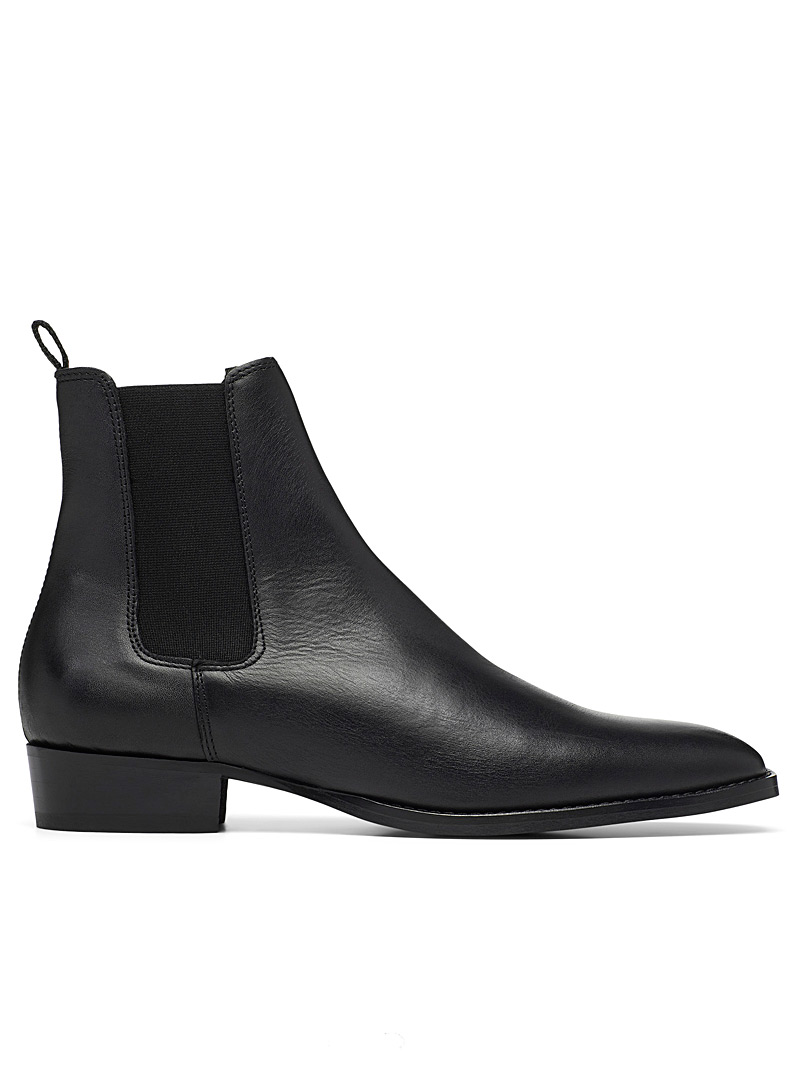 Simons Black Minimalist Chelsea leather boots Men for men