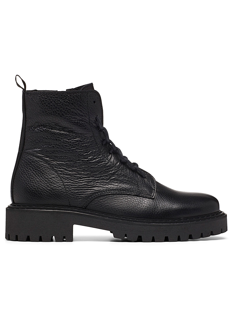 Grained leather lace-up boots