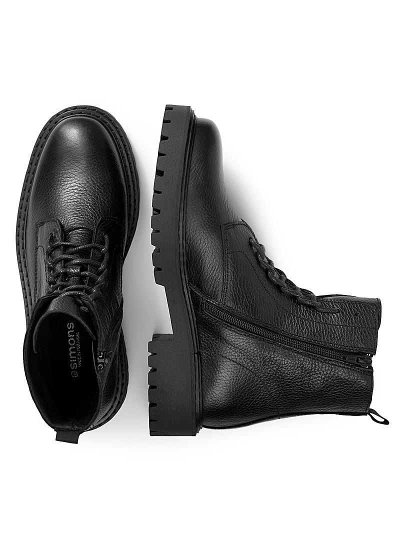 Simons Black Grained leather lace-up boots for women