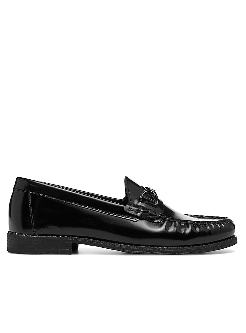Simons Black Shiny leather classic loafers for women
