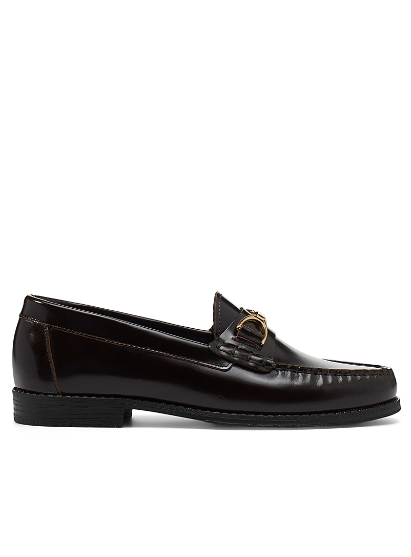 Simons Dark Brown Shiny leather classic loafers for women