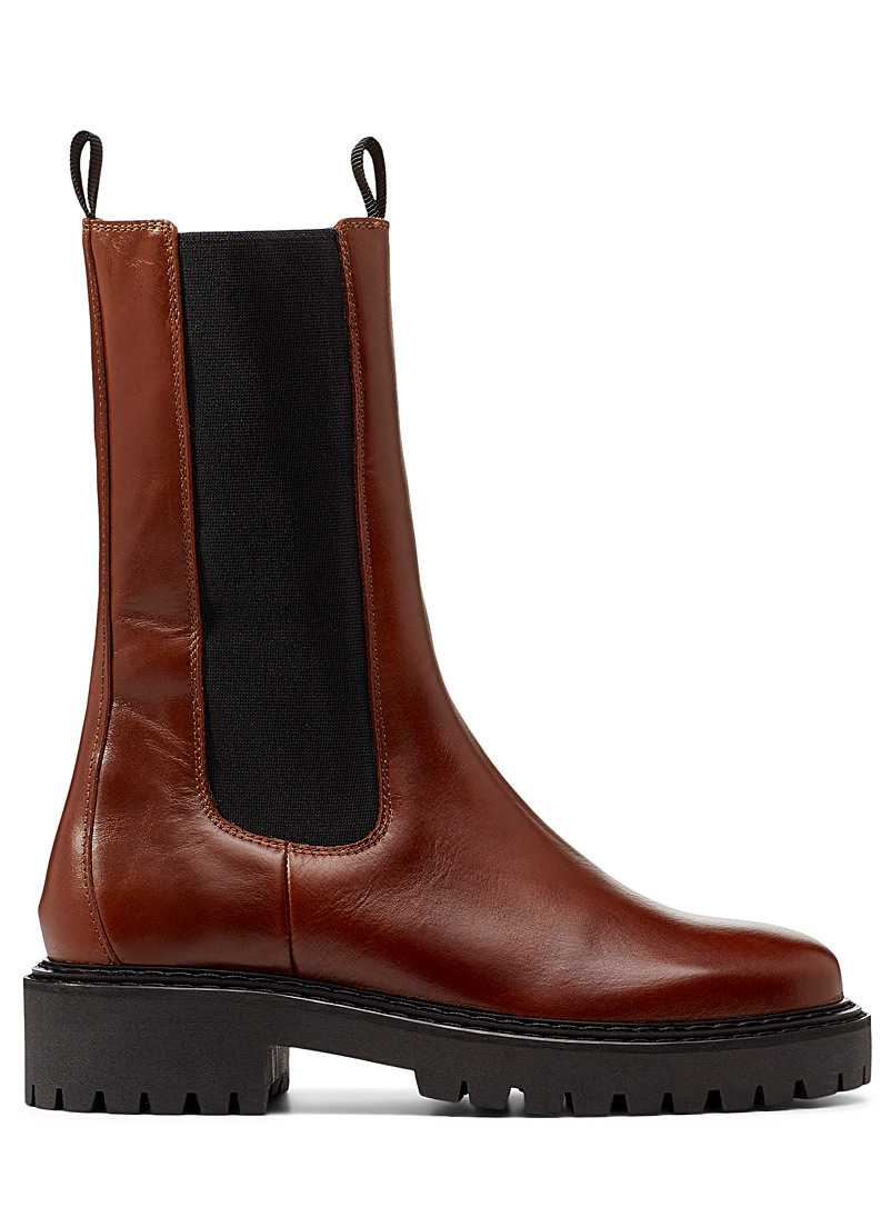 Simons Fawn High-cut leather Chelsea boot for women
