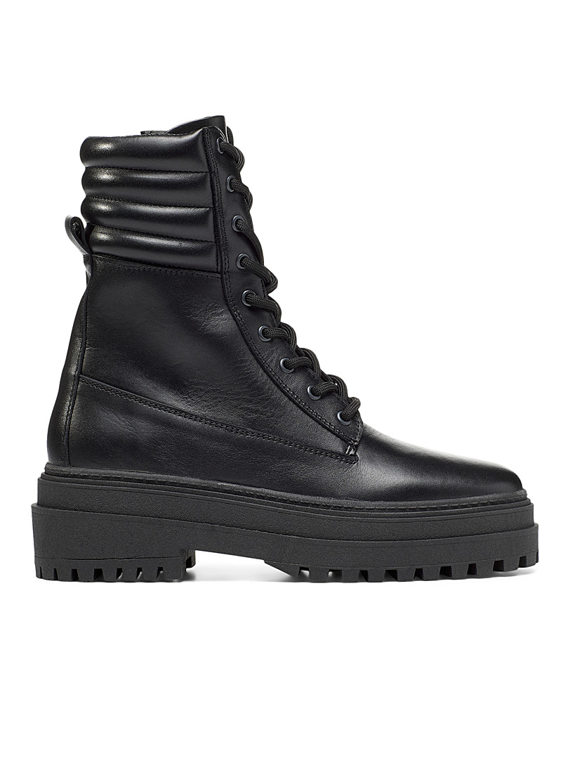 Simons Black Quilted ankle lace-up boot Women for women