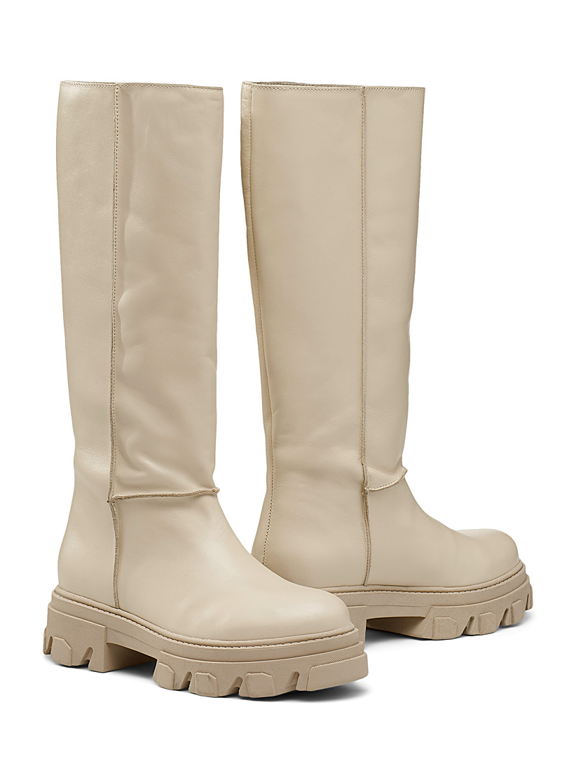 Simons Ivory White Thick-sole leather knee-high boot for women