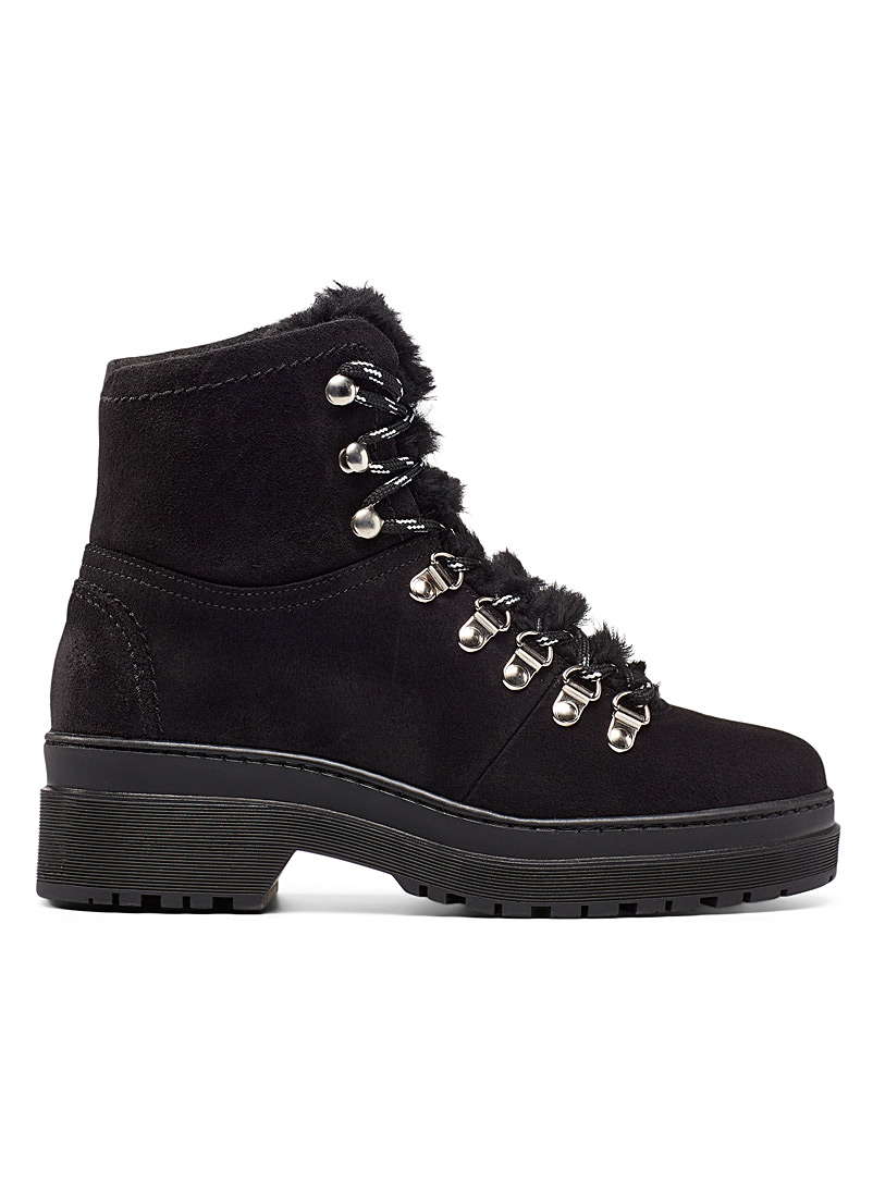 Simons Black Lace-up suede trek boot for women