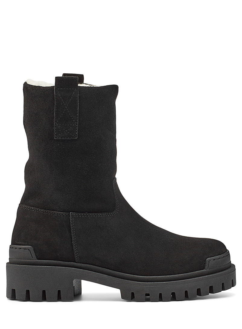 Simons Black Black suede winter boots for women