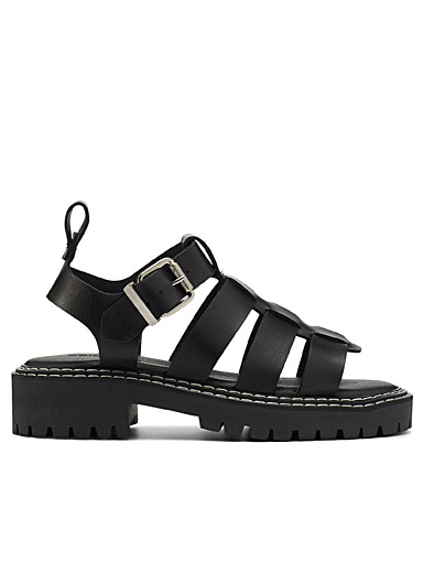 Strappy leather platform sandals