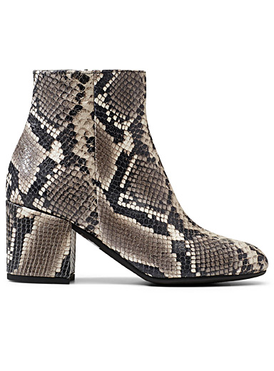 Faux-snakeskin ankle boots