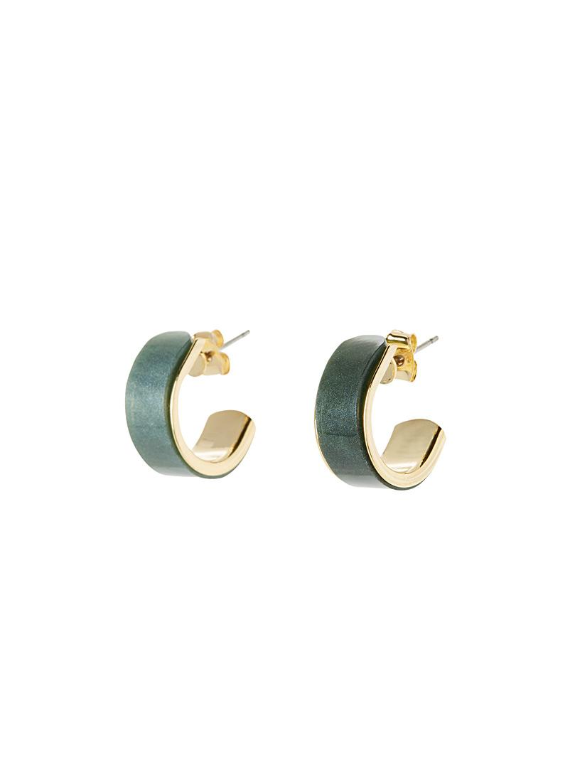 Shiny coated hoops - Earrings - Green