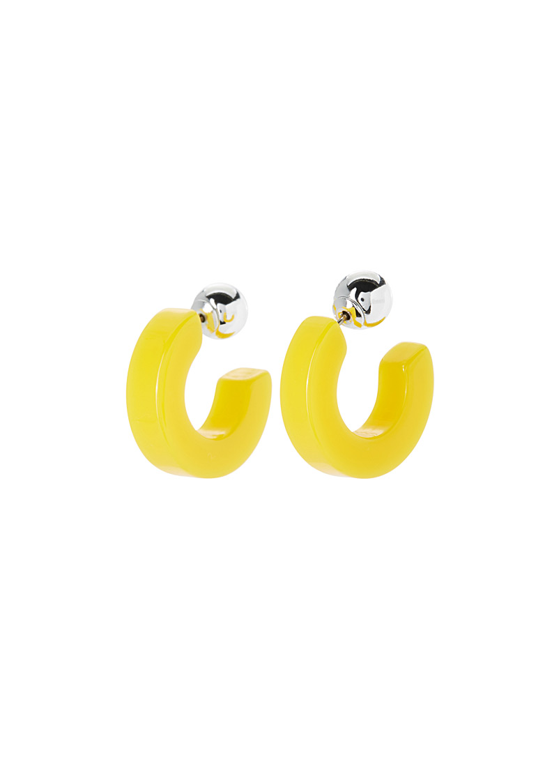 Large colourful hoops - Earrings - Bright Yellow