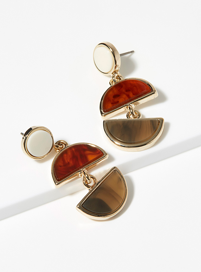 Simons Patterned Brown Modern geo earrings for women