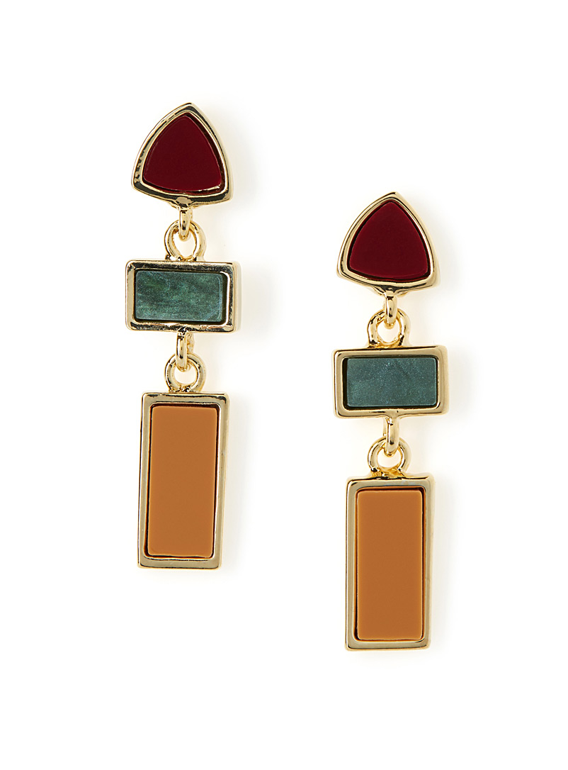 Geo trio earrings - Earrings - Brown