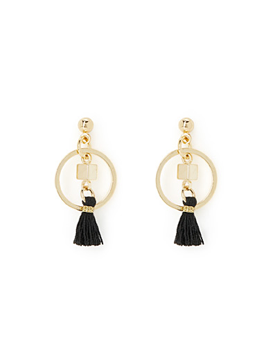 Simons Black Ring and tassel earrings for women
