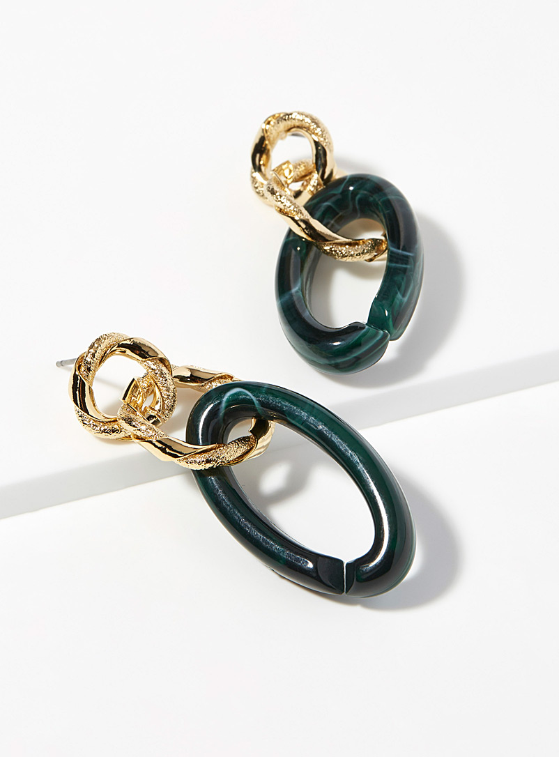 Mixed link earrings - Earrings - Teal