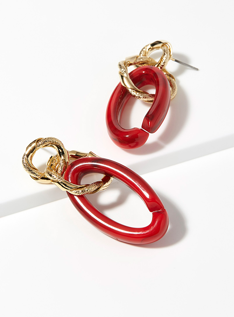 Mixed link earrings - Earrings - Red